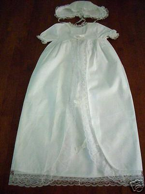 NEW Baby Lace Christening Gown Dress & Bonnet 3-18 MO.