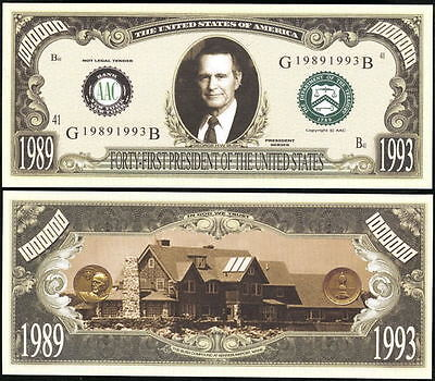 George H.w. Bush President Dollar - Lot Of 10 Bills