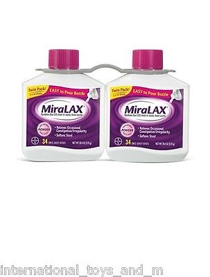 Twin Pack Miralax 68 Doses (2 x 34 Dose Bottles)