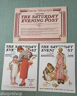 The Saturday Evening Post 2 Lithographs Mint Condition