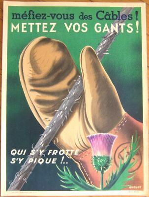 Early Litho SNCF French Railroad Train Safety Poster, Thistle