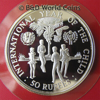 SEYCHELLES 1980 50 RUPEES SILVER PROOF INTERNATIONAL CHILD YEAR UNICEF IYC 36mm