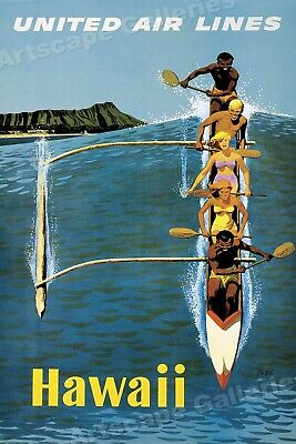 1960s Hawaii Outrigger Canoe - Classic Vintage Style Travel Poster - 24x36