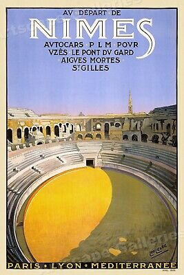 1926 Nimes France Amphitheater - Vintage Style Travel Poster - 24x36