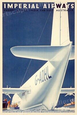 LE TOUQUET FROM LONDON IMPERIAL AIRWAYS Vintage French Travel Poster 250gsm