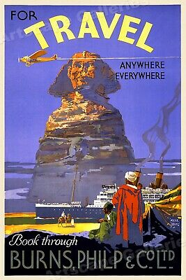 1930s Burns Philp Travel Co. Sphinx Vintage Style Travel Poster - 16x24