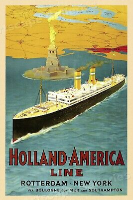 1950s Holland-America Line Classic Vintage Style Travel Poster - 24x36