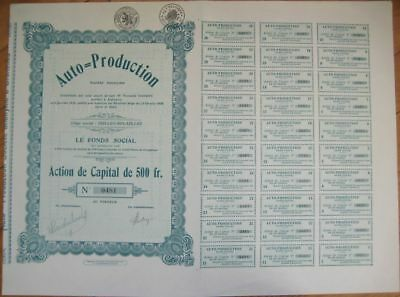 1929 Car Bond/Stock Certificate-Auto Production-Belgium