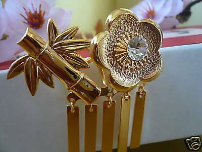 Gold-tone Bira-Bira Ume Flower Take Bamboo Jewley Kanzashi Hair Ornament/ G38