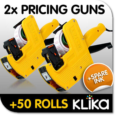 2x PRICING PRICE TAG TAGGING GUN LABELERS + 50 ROLLS