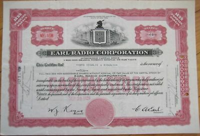 1929 Stock Certificate - ''The Earl Radio Corporation''