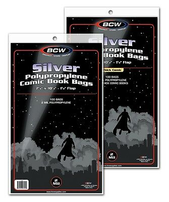 [ 300 ] BCW SILVER AGE Clear Comic Book Bags / Sleeves