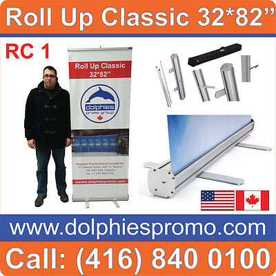 "32"" WIDE Trade Show Retractable Pop Up Banner Stand"
