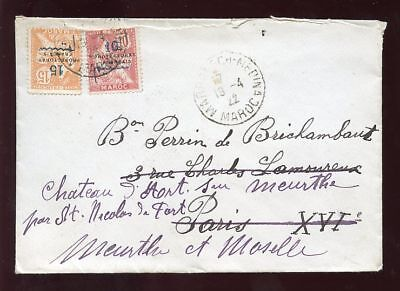 Morocco 1922 Cover..10+15 Surcharges Protectorate Issue