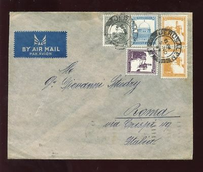 PALESTINE 1947 AIR COVER 4 COLOUR FRANKING to ITALY