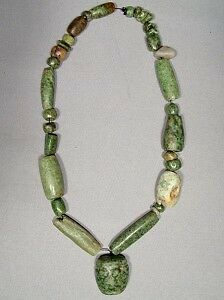 Ancient Mayan Maya Jade Pre Columbian Necklace, 500-950 AD