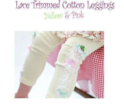 Ruffle Lace Cotton Leggings Pettiskirt TuTu PINK YELLOW