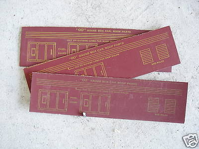 Lot of 3 Vintage OO Scale Boxcar Cardboard Roof Parts