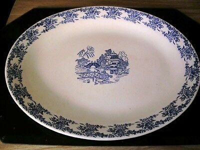Large Old Antique Chinese Blue Willow Blue/White Platter