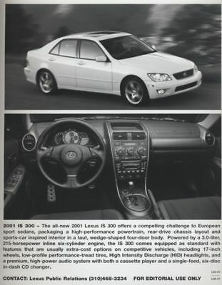 2001 Lexus IS300 IS 300 Press Photo and Press Release
