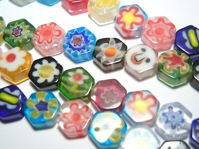 30pc 8mm Millefiori Hexagon Glass Beads Mixed Assorted Colours