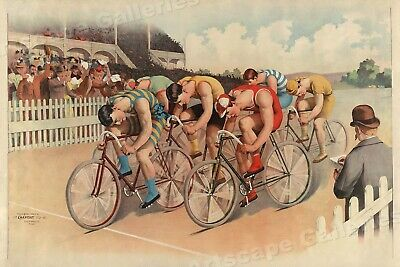 1890s Victorian Era Bicycle Race Classic Bike Racing Sports Poster - 24x36