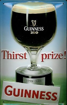 "Guinness Embossed Metal Sign Thirst Prize 8"" X 12"" Size 7"