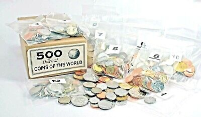 500 DIFFERENT coins from 150 countries,85% uncirculated