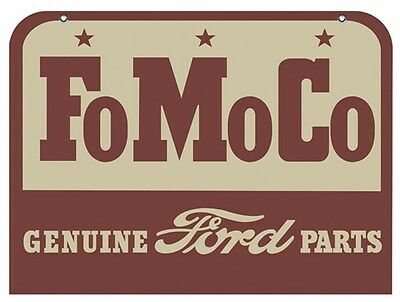 """Fomoco Sign Genuine Ford Parts Vintage Look Powder Coated Vibrant Color New 18"""""""