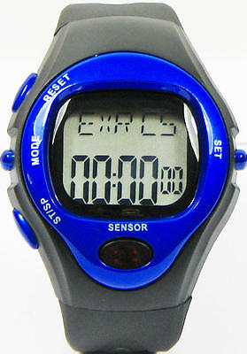 New Pulse Heart Rate Monitor Calorie Counter Stop Watch BLU