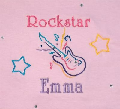 Personalized Boy or Girl ROCK STAR Guitar Name or Birthday T Shirt ADD BLING!