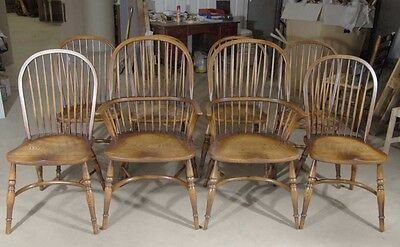 8 Farmhouse English Windsor Dining Chairs Yew Furniture