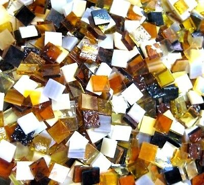 50 Mixed Ambers Creams Caramel & Browns Mosaic Tiles  1cm x 1cm