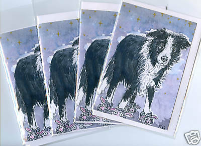 4 x Border Collie dog Slippers greeting cards S Alison