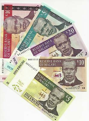 Malawi 5 , 10 , 20 , 50 100 Kwacha Uncirculated 5 Notes