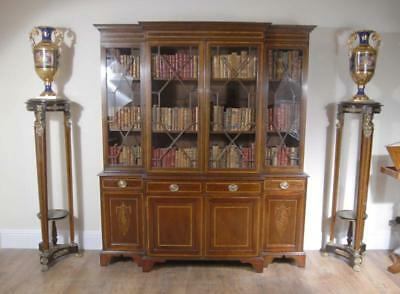 Sheraton Breakfront Bookcase Case English Furniture