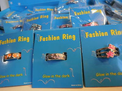 Lot of 24 GLOW In The DARK Rings w/Display & Carded NEW