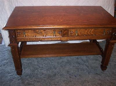 Quartersawn Oak Carved  Gothic Desk