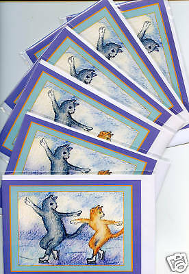 6 x Christmas holiday cards tabby ginger cat kitten ice skating figure skaters