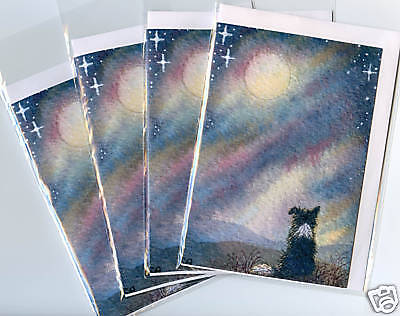 4 Border Collie dog puppy greeting cards S Alison Moon