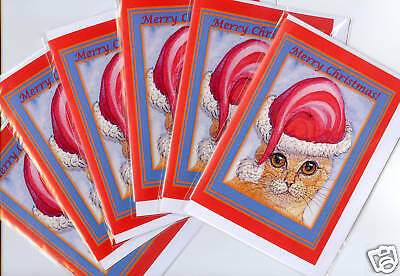 6 x Christmas holiday cards ginger tabby cat kitten Santa hat by Susan Alison