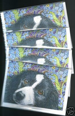 4 x Border Collie flower dog art greeting cards by Susan Alison - Forget me not