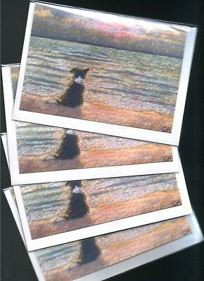 4 Border collie dog puppy greeting cards Good Morning