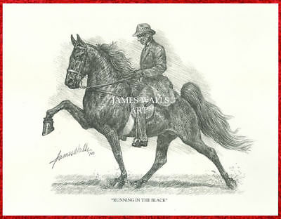 "TENNESSEE WALKING HORSE ART ""RUNNING IN THE BLACK"" by JAMES WALLS"