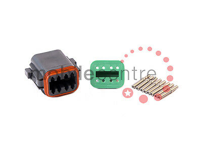 Deutsch DT 06 8S plug W8S wedgelock DT06-8S contacts for 0.5mm > 1.0mm CSA wire