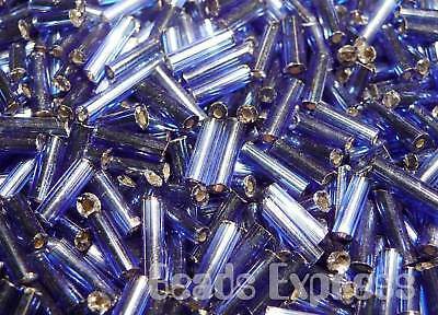6mm Sapphire 15g # 33-Silver-Lined Lt TOHO Bugle Tube Glass Beads Size #2