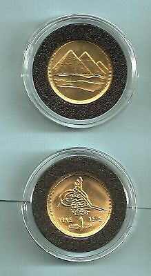 1984 Egypt Pyramids One Piaster Unc. Coin With Holder
