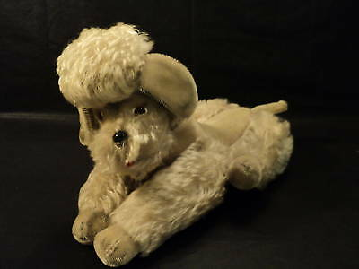 "VINTAGE 1950s STEIFF 14"" ""SNOBBY"" BEIGE MOHAIR POODLE"