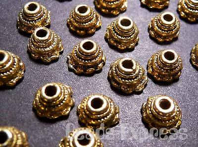 30pc 7mm Tibetan Silver Antique Gold Bead Caps Cap Jewelry Finding (JA026)