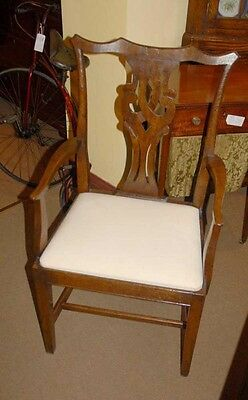 Set 8 English Rustic Chippendale Dining Chairs